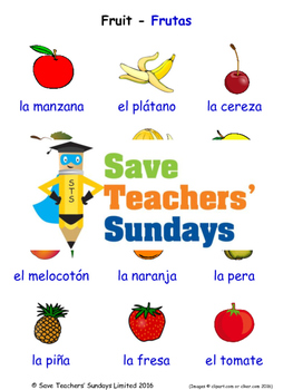Fruit in Spanish Worksheets, Games, Activities and Flash Cards (1)