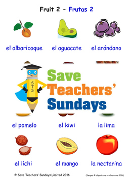 Fruit in Spanish Worksheets, Games, Activities and Flash Cards (2)