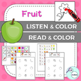 Fruit listen & color/read & color for Autism & Special Education - US version