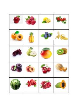 Fruit memory game for ESL students