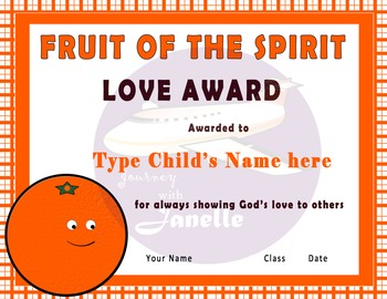 Fruit of The Spirit Character Award Certificates - 90 Editable Certificates