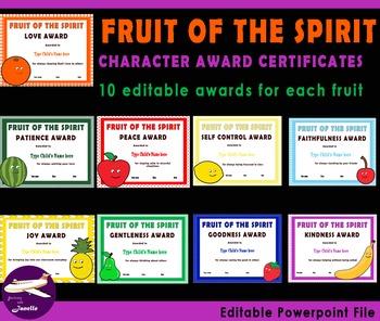Fruit of The Spirit Character Award Certificates - 90 Editable Certificates