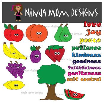 Fruit of the Spirit Clip Art in Color and Black Line- 56 Images
