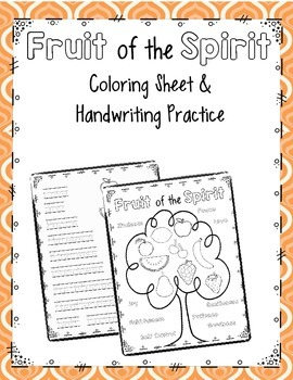 fruit of the spirit coloring page and handwriting practice