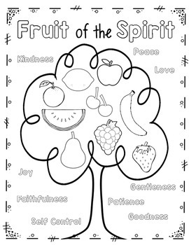 Fruit of the Spirit Coloring Page and Handwriting Practice | TpT