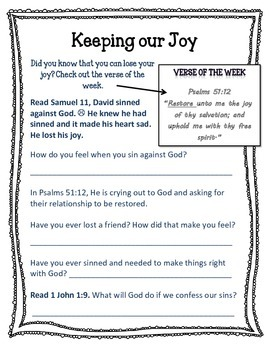Fruit of the Spirit. Joy. Unit 2. Worksheets and Activities.