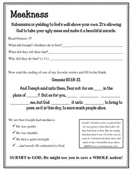 Fruit of the Spirit.  Meekness.  Unit 8. Worksheets and Activities