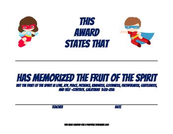 Fruit of the Spirit Memorization Award