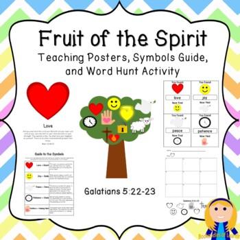 Fruit of the Spirit: Teaching Cards, Symbols Guide, & Word Scavenger Hunt