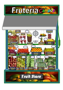 "Fruit shop ""Frutería"" Bilingual A3 Poster.Spanish/English"
