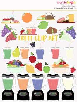 Fruit smoothie symbols clipart, fruit juice clipart (LC07)
