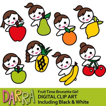 fruit time brunette girl clip art planner stickers clipart by rh teacherspayteachers com clipart stickers free stickers clipart black and white