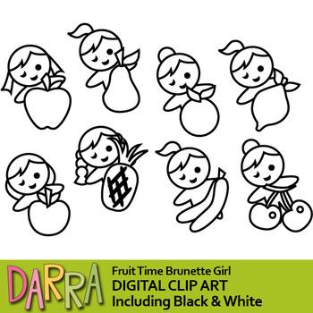 Fruit time brunette girl clip art (planner stickers clipart)