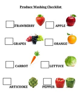 Fruit vegetable water center checklist