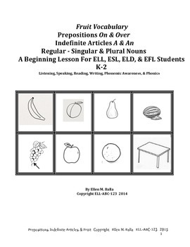 Fruit–Prepositions & Singular/Plural Nouns For Emerging EL