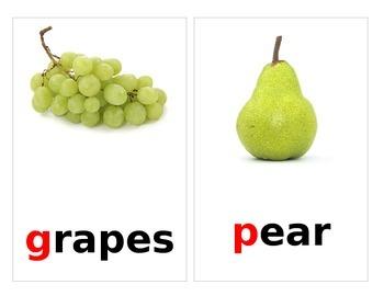 Fruit/Vegetable Cards beginning sounds