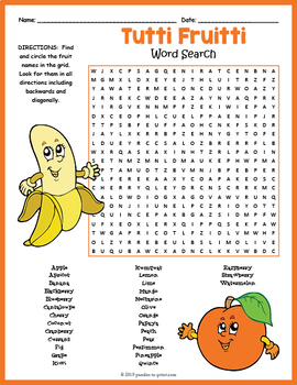 Fruits Word Search Puzzle