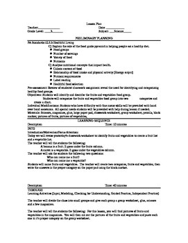 Fruits And Vegetables Lesson Plan And Worksheets