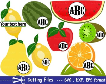 Fruits Apple lemon orange EPS SVG DXF school teachers cutting cut monogram -15S