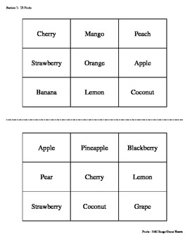 Fruits Bingo Game (H&I Bingo Game Sheets) - 3 X 3