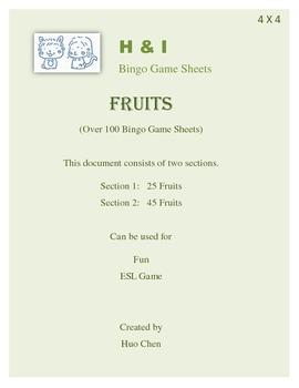 Fruits Bingo Game (H&I Bingo Game Sheets) - 4 X 4