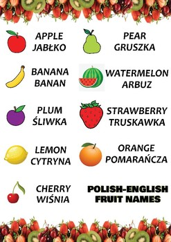 Fruits - Both in Polish and in English language