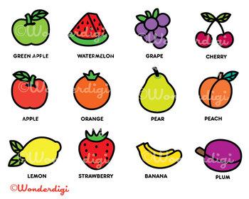 Fruits Clip Art - Colorful Kawaii Fruit Icons Set - Teacher Clip art