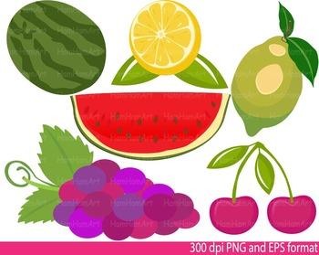 Fruits Clip Art Super Hero SCHOOL teacher apple cherries lemon orange Print -112