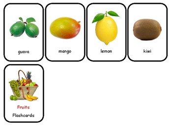 Fruits Flash cards