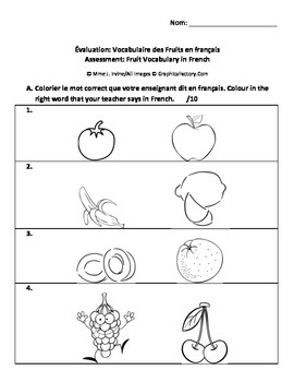 Fruits French Vocabulary Assessment Quiz