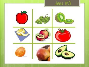Fruits French Vocabulary Tic Tac Toe Game