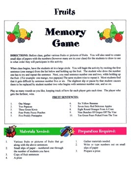 Fruits Game / Activity