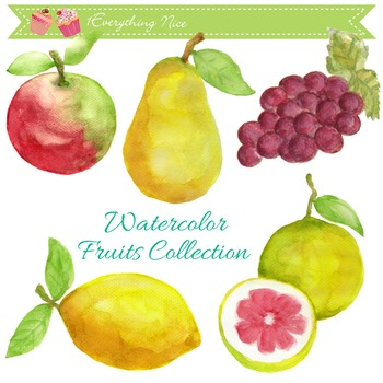 Fruits Hand Painted Watercolour Clipart Set