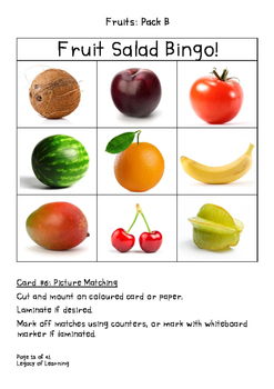 Fruits Pack B: Fun, Interactive Resources to Teach Healthy Eating
