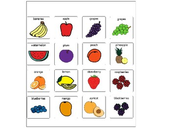 Fruits Picture Cards-PECS-Visuals-Autism-Resource