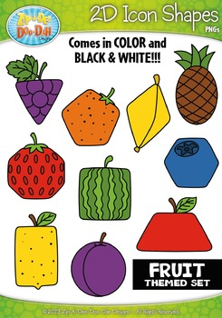 Fruits 2D Icon Shapes Clipart {Zip-A-Dee-Doo-Dah Designs}
