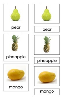 Fruits (Three Part Montessori Cards)
