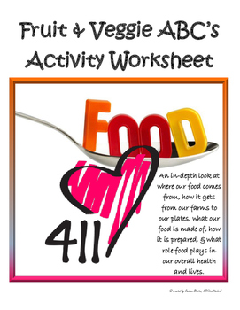 Nutrition for teens: Fruits & Veggie ABC's activity worksheet (NO PREP!)