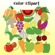 102 Fruits & Vegetables Clipart- Black & White images included!