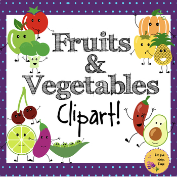102 Fruits Vegetables Clipart Black White Images Included Tpt