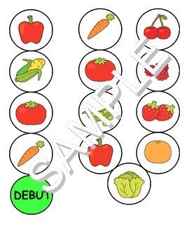 Fruits & Vegetables / Fruits et Legumes FRENCH Workbook & Games Package