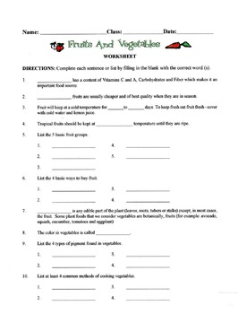 Fruits & Vegetables Lesson