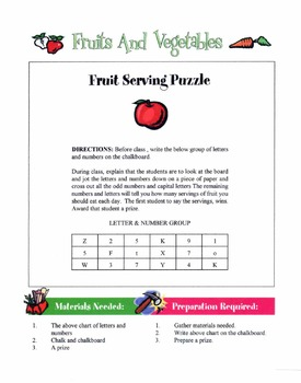 Fruits & Vegetables Lesson