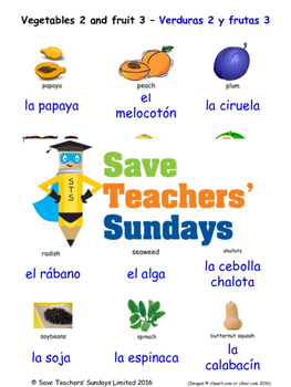 Fruits & Vegetables in Spanish Worksheets, Games, Activities and Flash Cards