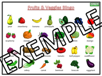 Fruits & Veggies Bingo