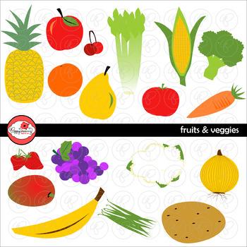 Fruits & Veggies Clipart by Poppydreamz