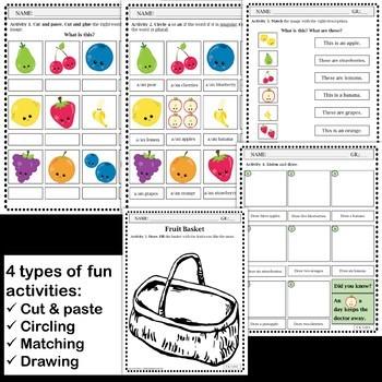 Fruit Vocabulary Activities and Flashcards (ESL/ELA)