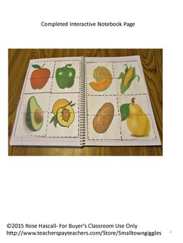 Interactive Notebook Puzzles Activities Sorting Fruit and Vegetable Matching