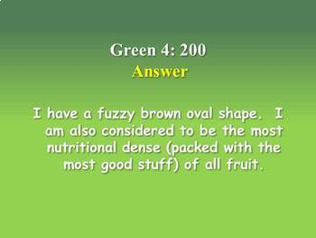 Fruit and Vegetable Trivia Game/PowerPoint Game