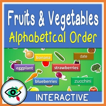 Fruits & Vegetables words AB order paperless